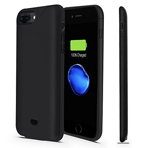 iPhone 7 Plus/8 Plus Battery Case-Support Lightning Port Headphones,CHYING 4200mAH Ultra Slim Portable Extended Charger,For iPhone 7 Plus/8 Plus/With Audio Power Juice Charging Case Pack--Pure black