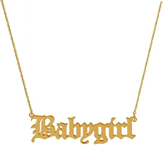 Sugar Rose Babygirl Old English Necklace 14K Gold Dipped Handmade Necklace Gift for Girls and Women Necklace Jewelry