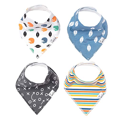 """Baby Bandana Drool Bibs 4 Pack Gift Set for Boys or Girls """"Quarterback"""" by Copper Pearl"""