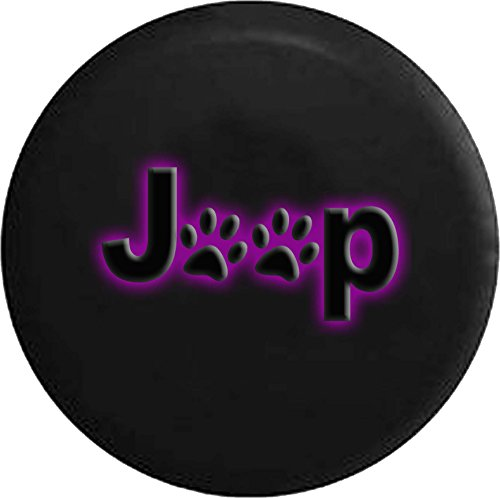 Purple - Paw Prints Glowing Off Road RV Camper Spare Tire Cover Dealer Grade 31 in