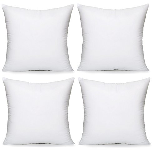 "Acanva Hypoallergenic Pillow Insert Form Square Cushion Euro Sham, 18"" x 18\"", White"
