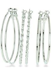 3 EARRINGS SET TWIST/FLAT/TUBE Set of Three Oversized Hoop Earrings (Twisted, Round, and Flat)