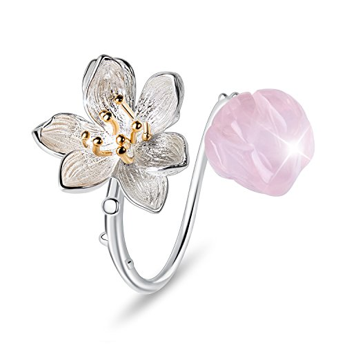 Lotus Fun S925 Sterling Silver Flower Rings Lotus Whispers Open Ring Handmade Natural Jewelry Unique Gifts for Women and Girls (Pink)