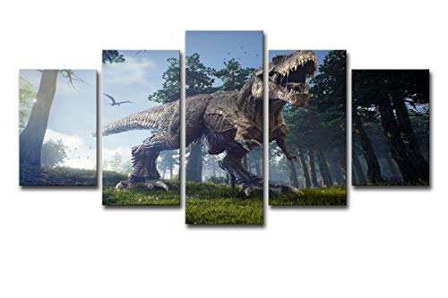 Canvas Art Pictures 5 Panels HD Printed Tyrannosaurus Rex Dinosaur Posters(No Frame) Unframed Artwork for Boys Bedroom Home Decorations ()