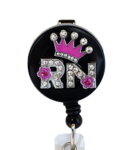 Crown Badge - 3D Pink Crown RN logo Nurse Rhinestone Retractable Badge Reel/ ID Badge Holder