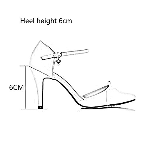 Sandals CJC Womens Closed Toe High Heel PU Leather Ballroom Latin Dance Shoes (Color : 8cm, Size : EU36/UK4) 6cm
