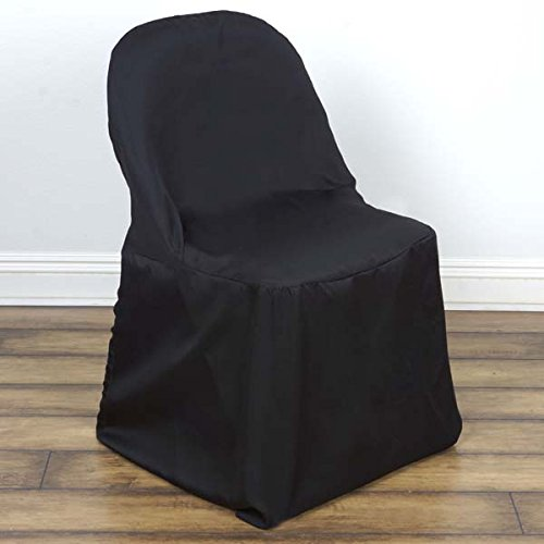 Efavormart 40 PCS Black Linen Polyester Folding Chair Cover Dinning Chair Slipcover for Wedding Party Event Banquet Catering ()