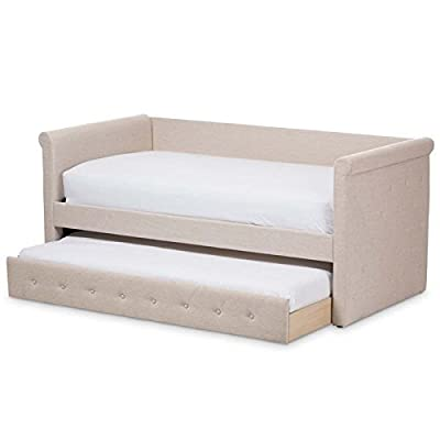 Baxton Studio Daybed in Light Beige Finish with Trundle