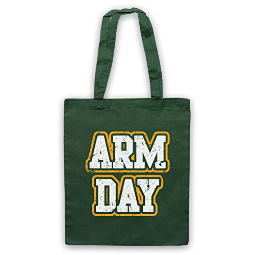 Arm Day Bodybuilding Workout Slogan Bolso Verde Oscuro
