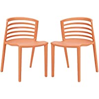 Modway Curvy Dining Chairs, Orange, Set of 2