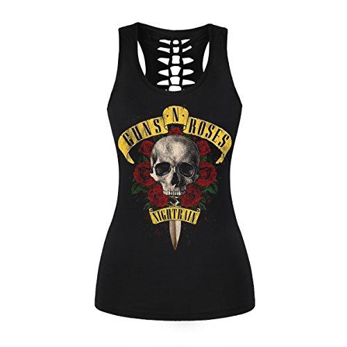 Womens Skull Shirts Cut Out Workout Yoga Running Tank Tops Sleeveless Casual Shirts Tops (S/M, Gun Rose 018) ()