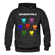 QK Undertale Colorful Hearts Soul Women's Athletic Sweatshirt Black