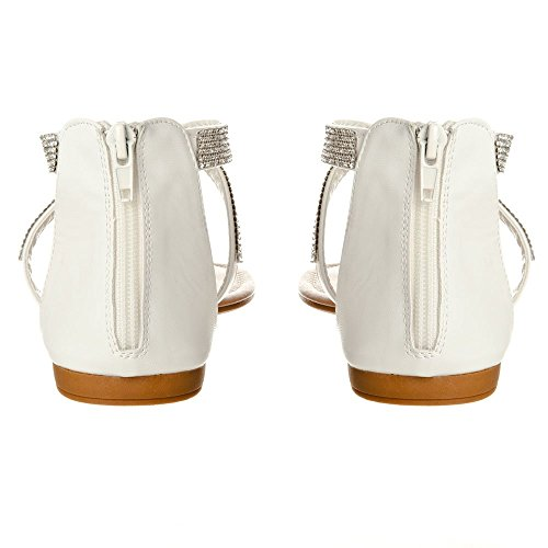 Ladies Flat Sandals Diamante Toe Post T-Bar Sandal With Ankle Strap White wFBA8