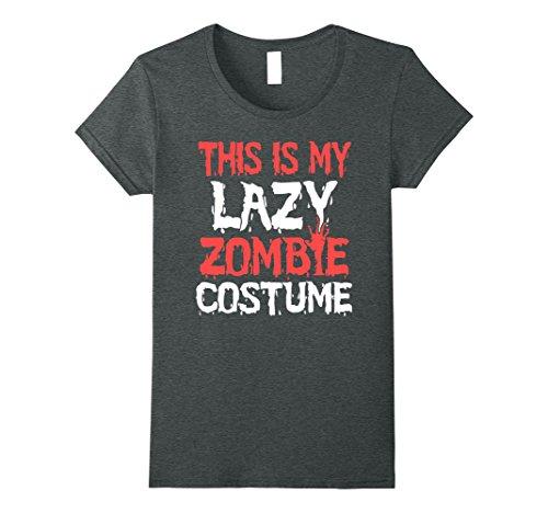 Womens Halloween Lazy Zombie Costume Funny T-shirt XL Dark Heather