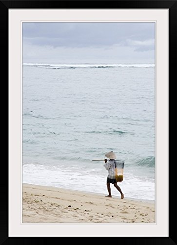 GreatBIGCanvas ''Person Walking On Beach with Fishing Net; Bali, Indonesia'' by Keith Levit Photographic Print with Black Frame, 24'' x 36'' by greatBIGcanvas
