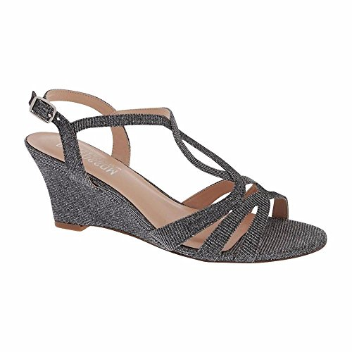 De Blossom Collection Women's Shimmer Party Dressy Twist T-Strap Low Heel Wedge Sandal Pewter 8 (Prom Ladies Shimmer Evening Shoe)