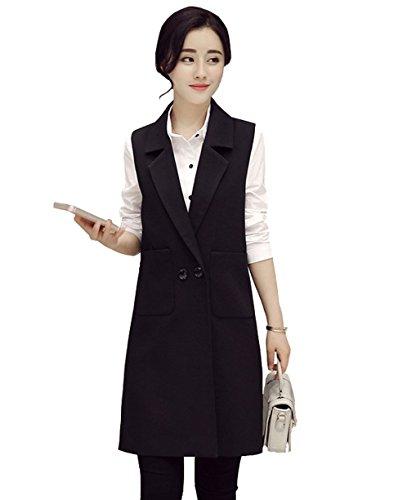 歌面白いあいまいな(Gxbo)レディース ロング ベスト 袖なし 無地 ノースリーブ ベスト ファッション オフィス