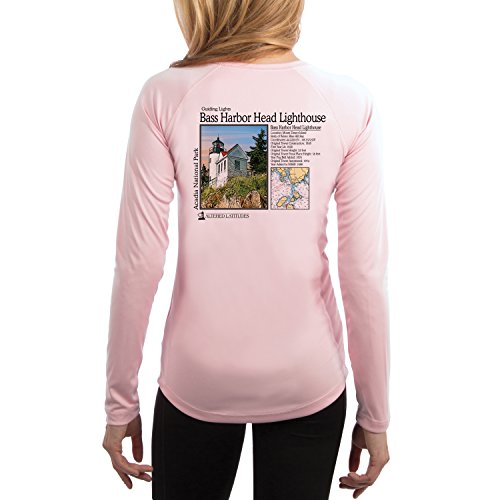 Guiding Lights Bass Harbor Light Women's UPF 50+ Long Sleeve T-Shirt X-Small Pink - Blossom Womens Light T-shirt