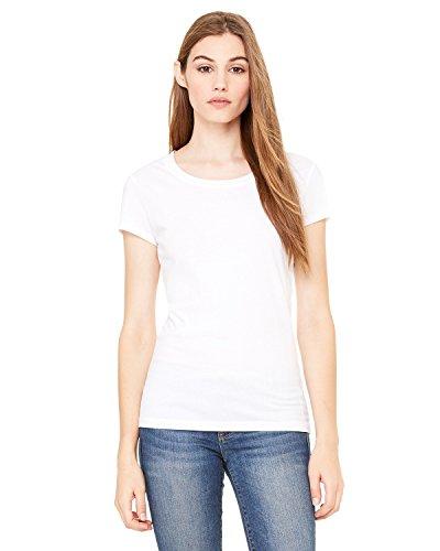 (Bella Ladies Kimberley Cap Sleeve Crewneck T-Shirt - White - Medium)