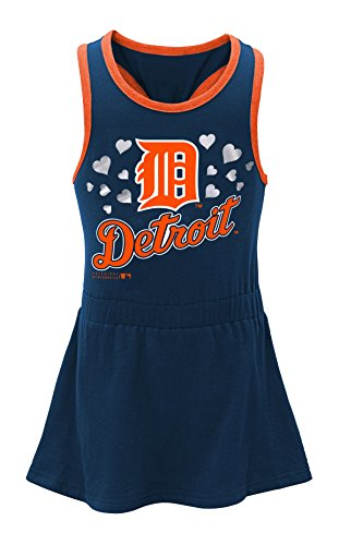 OuterStuff MLB Detroit Tigers Toddler Girls Criss Cross Tank-2T, Athletic Navy (Tigers Apparel Toddler)