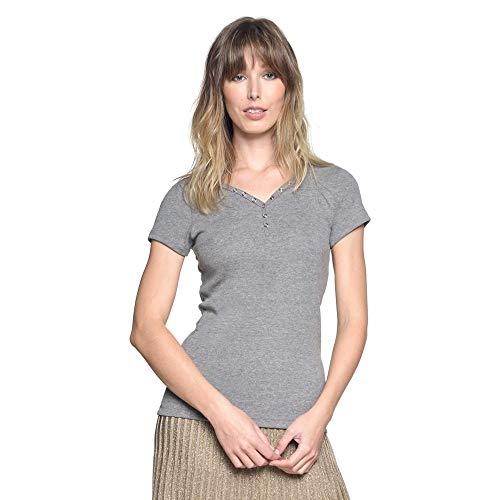 Camiseta Luigi Bertolli Feminina T-Shirt Básica Botões Cinza