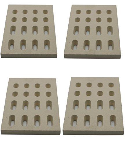 Grill Valueparts REV5504CB (4-Pack) Ceramic Brick Flame Tamer, Grill Ceramic Briquettes for Grand Turbo Grills, Set of 4 (Dimensions: 7 1/16