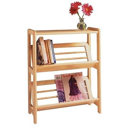 Natural Bookshelf With Slanted Shelf