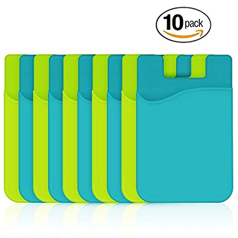 Silicone Card Holder, HUO ZAO Phone Credit Card Id Cash Wallet with 3M Adhesive Stick-on fits Apple iPhone Samsung Galaxy Android Most Smartphones, Table, Refrigerator, Door - Yellow, Blue - 10 (Real Tree Camo Case For Ipod 5)