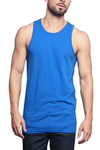 (Men's Basic Essential Straight Hem Long Length Tank Top TT60-PL - Royal Blue - Medium - H11A)