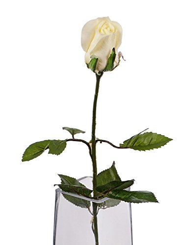 Closer To Nature Artificial 60cm Single Stem Closed Bud Cream Rose - Artificial Luxury Silk Flower Range