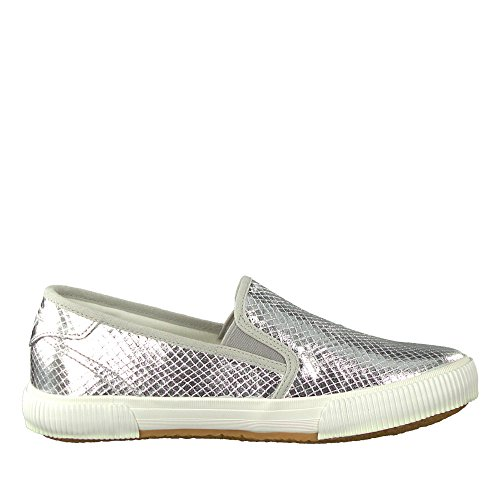 Tamaris 24601-20 Damen Modischer Slipper Aus Lederimitat Touch-it-Innensohle Silber