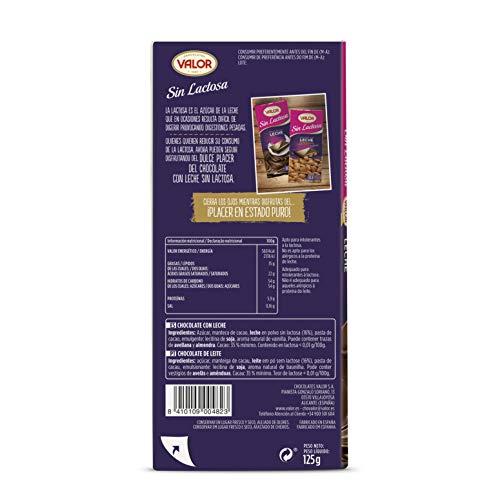 VALOR chocolate con leche sin lactosa tableta 125 gr: Amazon ...