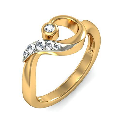 Certified 18K Yellow Gold (HallMarked), 0.11 cttw White Diamond (IJ | SI ) Diamond Engagement Wedding Ring Size - 7.5 by PEACOCK JEWELS