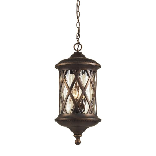 Artistic Lighting 42033/3 3-Light Outdoor Pendant In Hazelnut Bronze and Designer Water Glass (Manor Light 3 Gate)