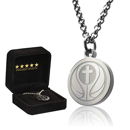 Basketball Cross Necklace by Pendant Sports. Presented in Black Velvet Box. Crafted in Stainless Steel. Inspiring Luke 1:37 Bible Verse on Back. Many Sports ()