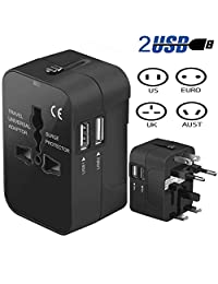 Veli Overseas Conversion Plug Adaptador Europeo Power Conversion Plug Overseas Travel 150 Multinacional Travel 2USB Puerto Reino Unido EE. UU. UE (Negro)