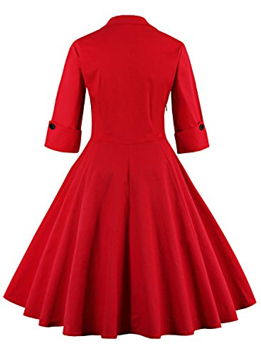 amp;dot Party Floral Dress Red 50s OWIN Swing Women's Cocktail Style Retro PPOqC