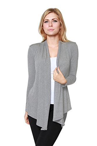 Free to Live Women's Light Weight Open Front Cardigan Sweater Made in USA (Large, Heather Grey)