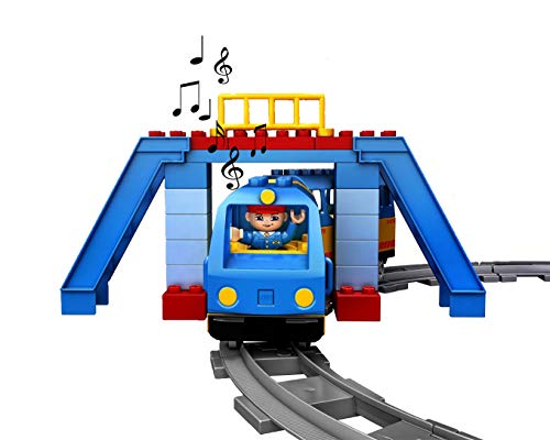 - My First Town Train Set Building Bricks Set Motorized Engine Train Set with Sound Battery-Operated - Compatible with All Major Brands ...