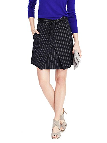 Banana Republic Front-Tie Pinstripe Skirt Color Bold Blue Stripe -