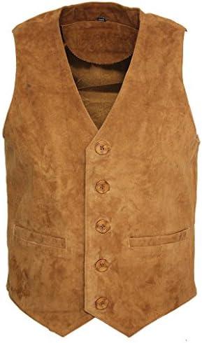 Men/'s Goat Suede Classic Smart Tan Leather Waistcoat
