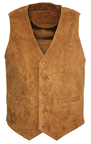 Men's Goat Suede Classic Smart Tan Leather Waistcoat XL (Goat Suede)