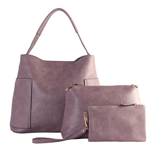 Small Set Matching Bags Cosmetic Hobo Pieces amp; Large Medium PU Mauve TT with Diophy 3 Leather 6200 Ofq8wWR