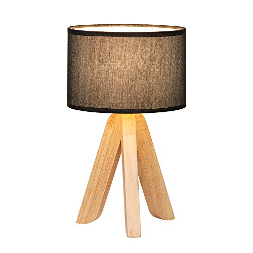 HAITRAL Creative Wooden Table Lamp Tripod Black Linen Lampshade Modern Table Lamp Fashion Nightlight for Office Night Table