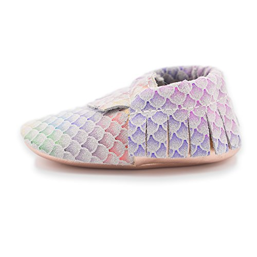 CoCoCute Baby Moccasins Soft Leather Sole Infant Shoes and Toddler Moccasins for Boys and Girls (6-12 Month, Classic Mermaid)