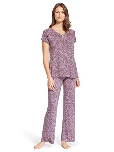 (Kathy Ireland Womens Two Piece Animal Print Sleep Shirt and Pant Set Purple XL)