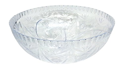 Crystal-Cut Plastic Punch Bowl and Ladle Set For Weddings, Parties, Buffets