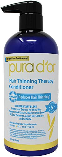 PURA D'OR Hair Thinning Therapy Conditioner for Added Moisture, Infused with Argan Oil, Biotin & Natural Ingredients, Sulfate Free, for All Hair Types, Men & Women, 16 Fl Oz (Packaging may vary)