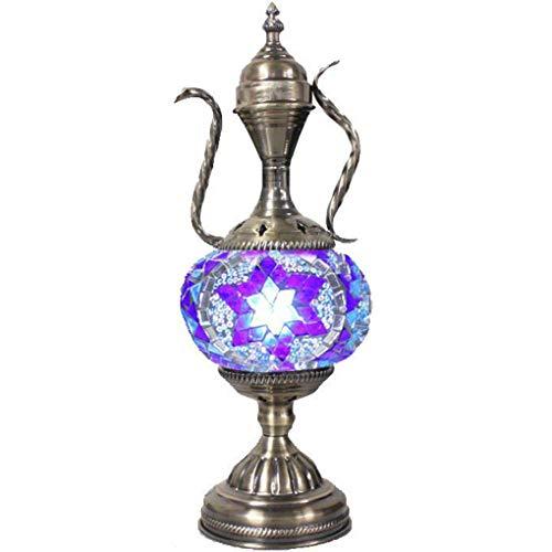 Silver Fever Handcrafted Mosaic Turkish Lamp -Moroccan Glass - Table Desk Bedside Light- Bronze Base (Star of David Aladin)