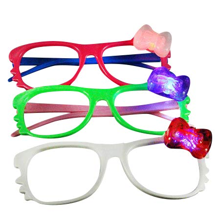 12 Pairs of LED Flashing Hello Kitty Bow Light Up Party Glasses Shades (Mixed Color) -